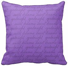 KarilShop Any Color Background Goodnight Sweet Dreams purple Linen Throw Pillow Case Cushion Cover Home Sofa Decorative 18 X 18 Inch.