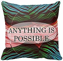 KarilShop Anything Is Possible 3 Word Linen Throw Pillow Case Cushion Cover Home Sofa Decorative 18 X 18 Inch.