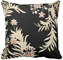 KarilShop Asian Floral Print black Linen Throw Pillow Case Cushion Cover Home Sofa Decorative 18 X 18 Inch.