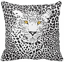 KarilShop Black White Leopard In Spots white Linen Throw Pillow Case Cushion Cover Home Sofa Decorative 18 X 18 Inch.