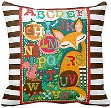 KarilShop Fox And Squirrel Abcs in black Linen Throw Pillow Case Cushion Cover Home Sofa Decorative 18 X 18 Inch.