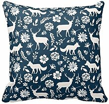 KarilShop Fox Deer blue Linen Throw Pillow Case Cushion Cover Home Sofa Decorative 18 X 18 Inch.