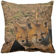 KarilShop Fox Drake in yellow Linen Throw Pillow Case Cushion Cover Home Sofa Decorative 18 X 18 Inch.