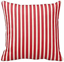 KarilShop Red Cream Striped Linen Throw Pillow Case Cushion Cover Home Sofa Decorative 18 X 18