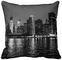 KarilShop the New York City Skyline Linen Throw Pillow Case Cushion Cover Home Sofa Decorative 18 X 18 Inch.
