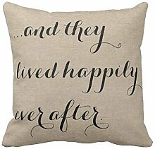 KarilShop They Lived Happily Ever After Burlap Rustic Ch Linen Throw Pillow Case Cushion Cover Home Sofa Decorative 18 X 18