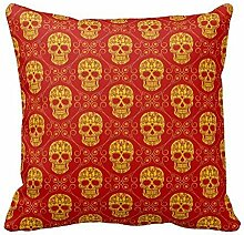 KarilShop Yellow And Red Sugar Skull Linen Throw Pillow Case Cushion Cover Home Sofa Decorative 18 X 18