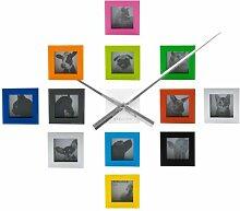 Karlsson Designer Foto Wanduhr Uhr Quarzuhr mit 12 Bilderrahmen Fotorahmen Fotos Bilder Frames inklusive Batterie