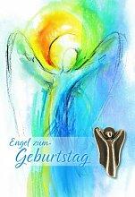 Karte Engel zum Geburtstag m. Bronze-Engel