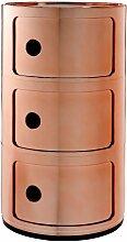 Kartell Componibili Schränkchen Metallic (3 Comp.) (h) 58.5 X (Ø) 32 Cm