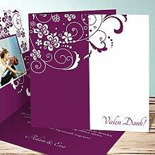 Karten Hochzeit Danke, Garten der Träume 25 Karten, Quadratische Klappkarte 145x145 inkl. weißer Umschläge, Ro