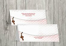 Kartenparadies Tischkarte Taufe Taufe Tisch Floral Rapport, hochwertige Platzkarte zur Tauffeier | 70 Karten - (Format: 100x44 mm) Farbe: Pinkrosa