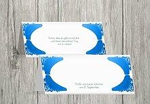 Kartenparadies Tischkarte Taufe Taufe Tisch Neu Barock, hochwertige Platzkarte zur Tauffeier | 100 Karten - (Format: 100x44 mm) Farbe: Hellblauleuchtend