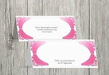 Kartenparadies Tischkarte Taufe Taufe Tisch Neu Barock, hochwertige Platzkarte zur Tauffeier | 10 Karten - (Format: 100x44 mm) Farbe: Pinkrosa
