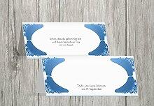 Kartenparadies Tischkarte Taufe Taufe Tisch Neu Barock, hochwertige Platzkarte zur Tauffeier | 70 Karten - (Format: 100x44 mm) Farbe: KräftigHellMarineblau