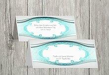 Kartenparadies Tischkarte Taufe Taufe Tisch Schale & Rahmen, hochwertige Platzkarte zur Tauffeier | 70 Karten - (Format: 100x44 mm) Farbe: AquaTürkis
