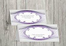 Kartenparadies Tischkarte Taufe Taufe Tisch Schale & Rahmen, hochwertige Platzkarte zur Tauffeier | 60 Karten - (Format: 100x44 mm) Farbe: Lila