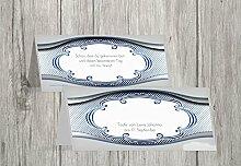 Kartenparadies Tischkarte Taufe Taufe Tisch Schale & Rahmen, hochwertige Platzkarte zur Tauffeier | 90 Karten - (Format: 100x44 mm) Farbe: Blau