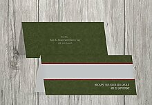 Kartenparadies Tischkarten Hochzeit Hochzeit Tisch Für immer, hochwertige Platzkarten für den Hochzeitstisch | 60 Karten - (Format: 100x44 mm) Farbe: MatschgrünDunkel