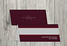 Kartenparadies Tischkarten Hochzeit Hochzeit Tisch Für immer, hochwertige Platzkarten für den Hochzeitstisch | 40 Karten - (Format: 100x44 mm) Farbe: Dunkelro