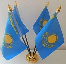 Kasachstan 4Flagge Desktop Tisch mit Gold Boden