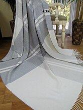 "Kaschmir Decke Wolldecke Wohndecke 100% Wolle - Kaschmir - Mix 140 x 200 cm sehr weiches Plaid Kuscheldecke ""Faro"" (Grau-Weiß (4))"