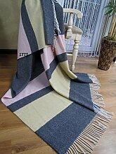 "Kaschmir Decke Wolldecke Wohndecke 100% Wolle - Kaschmir - Mix 140 x 200 cm sehr weiches Plaid Kuscheldecke ""Faro"" (Dunkelgrau-Rosa-Gelb (Streifen))"