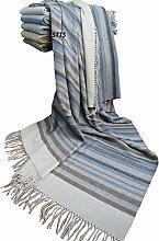 "Kaschmir Decke Wolldecke Wohndecke 100% Wolle - Kaschmir - Mix 140 x 200 cm sehr weiches Plaid Kuscheldecke ""Faro"" (Blau-Braun-Grau (Streifen))"