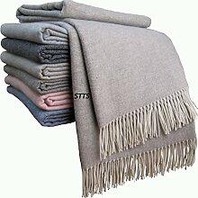 "Kaschmir Decke Wolldecke Wohndecke 100% Wolle - Kaschmir - Mix 140 x 200 cm sehr weiches Plaid Kuscheldecke ""Faro"" (Beige-Grau)"