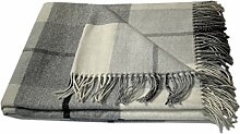 Kaschmir Merino Wolldecke - 100% reine neuseeländische Lammwolle 140 x 200cm Plaid Blanket Sofadecke Decke (Weiß / Grau / Dunkelgrau)