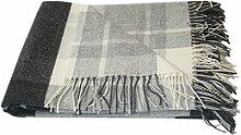 Kaschmir Merino Wolldecke - 100% reine Wolle 140 x 200cm Plaid Blanket Sofadecke Decke (Weiß / Dunkelgrau / Grau) Öko-Tex 100 Standard