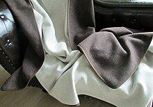 Kaschmir Plaid doppelseitig in Schokobraun, Wolldecke, Tagesdecke, Überwurf (150x220)