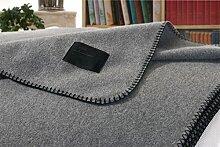 Kaschmirdecke, Wolldecke aus 100% Kaschmir Amalfi grau 150x200cm Kettstich