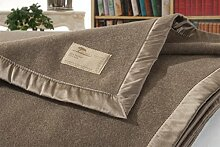 Kaschmirdecke, Wolldecke aus 100% Kaschmir Amalfi grau-beige 150x200cm Seide