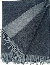 Kaschmirplaid Wolldecke Tagesdecke Anthrazit doppelseitig 153x200 cm