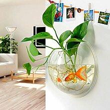 Kasit Wandmontierte Hängepflanze Pflanze Bubble Bowl Blumentopf Fisch Acryl Tank Aquarium Haus Dekoration (L/29.5cm*14cm)