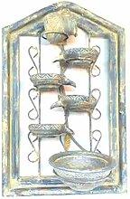 Kaskaden-Wandbrunnen mit Blumentopf und Wasserpumpe, 70 x 45 x 20 cm