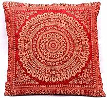 Kastanienbraun Indische Wohnzimmer Dekoration Banarasi Seide Kissenbezüge 40 cm x 40 cm, Extravaganten Design für Sofa & Bett Dekokissen, Kissenhülle aus Indien. Angebot gültig solange der Vorrat reich