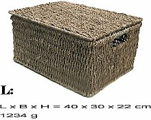 Kasten Aufbewahrung Korb mit Deckel Seegrass (L)