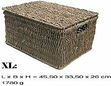 Kasten Aufbewahrung Korb mit Deckel Seegrass (XL)
