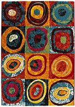 Kasten Teppiche Modern Flachflor Runde Muster Teppich Muti Rainbow 80x150 cm