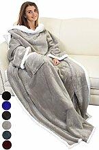 Katalonien Sofa Decke mit Ärmeln, warm Micro Plüsch Sherpa Fleece Decke, flauschig Überwurf Decke, für Erwachsene Frauen Herren 183cm x 140cm (182,9x 139,7cm), Microfaser, camel, 183cm x 140cm