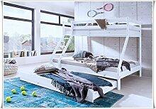 Katamran Kinderbett aus kiefermassiv weiß 140x 200 und 90 x200