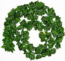 Katech 12 Stück Fake Aufhängung Rattan Kletterpflanze Blätter Girlande grün künstliche Pflanzen für Zuhause Zimmer oder Outdoor Yard Garten Wand Dekoration im Innenbereich