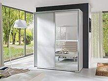 KATIE Schiebetürenschrank Kleiderschrank Möbel Schrank Spiegel modernes Design Matt Weiß (Korpus: matt weiß / Front: matt weiß)