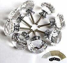 Katomi Kristall-Möbelknauf, 40 mm, 8 Stück, klares Kristallglas, Diamantschliff, zum Anschrauben