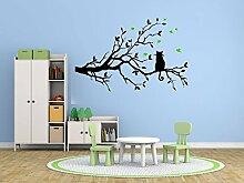 Katze auf dem Zweig Blätter einstellen Schlafzimmer Entfernbar Wandgemälde Kindergarten Abziehbild Dekor Baby Kunst Wandaufkleber Aufkleber Dekoration Kinder