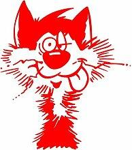 Katze Aufkleber 001, 50 cm, ro