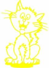 Katze Aufkleber 003, 50 cm, gelb