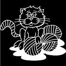 Katze Aufkleber 005, 50 cm, weiss